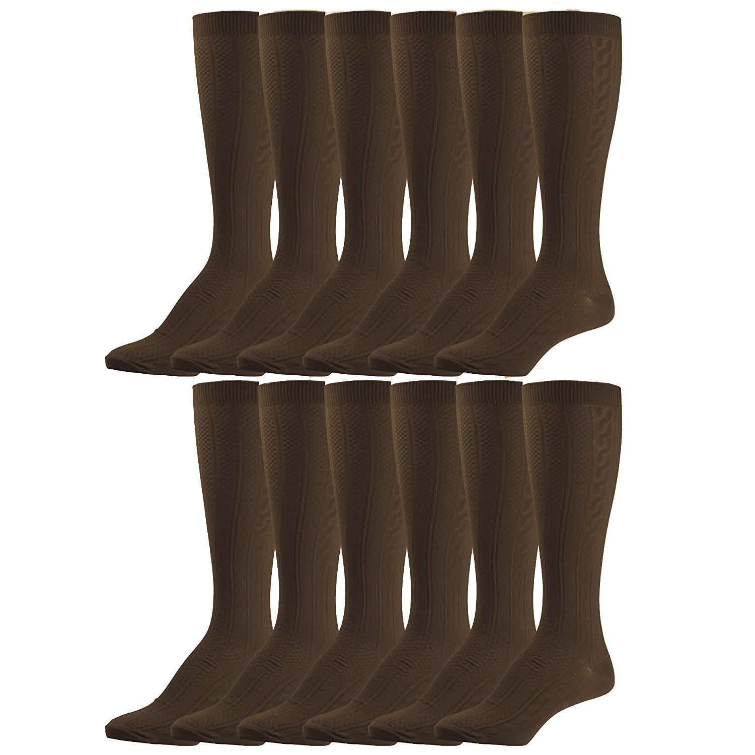 6 pairs of excell Girls Fancy Cable Knit Knee High Socks, Solid Colors, Uniform Socks (6 Pair Coffee, 8-9.5)