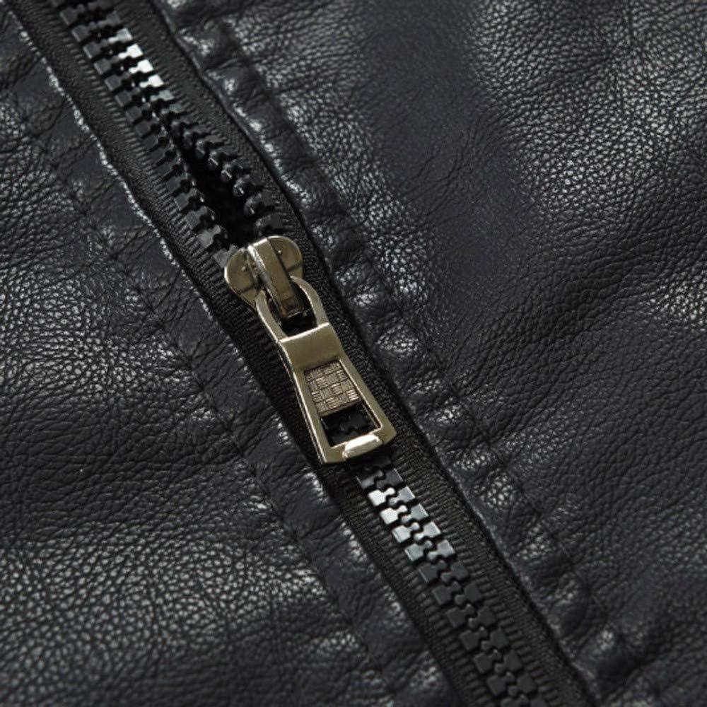 ZEFOTIM Mens Autumn and Winter Lapel Hooded Leather Jacket Plus Thick Coat