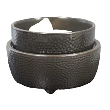 Candle Warmer Wax Melt Warmers for Scents Frangrances & Oil - 2-in-1 Black Textured Electric Air Freshener Melts Tart Cubes for Hours Long Lasting Burner - Odor Eliminating Plug in Flameless Scented…