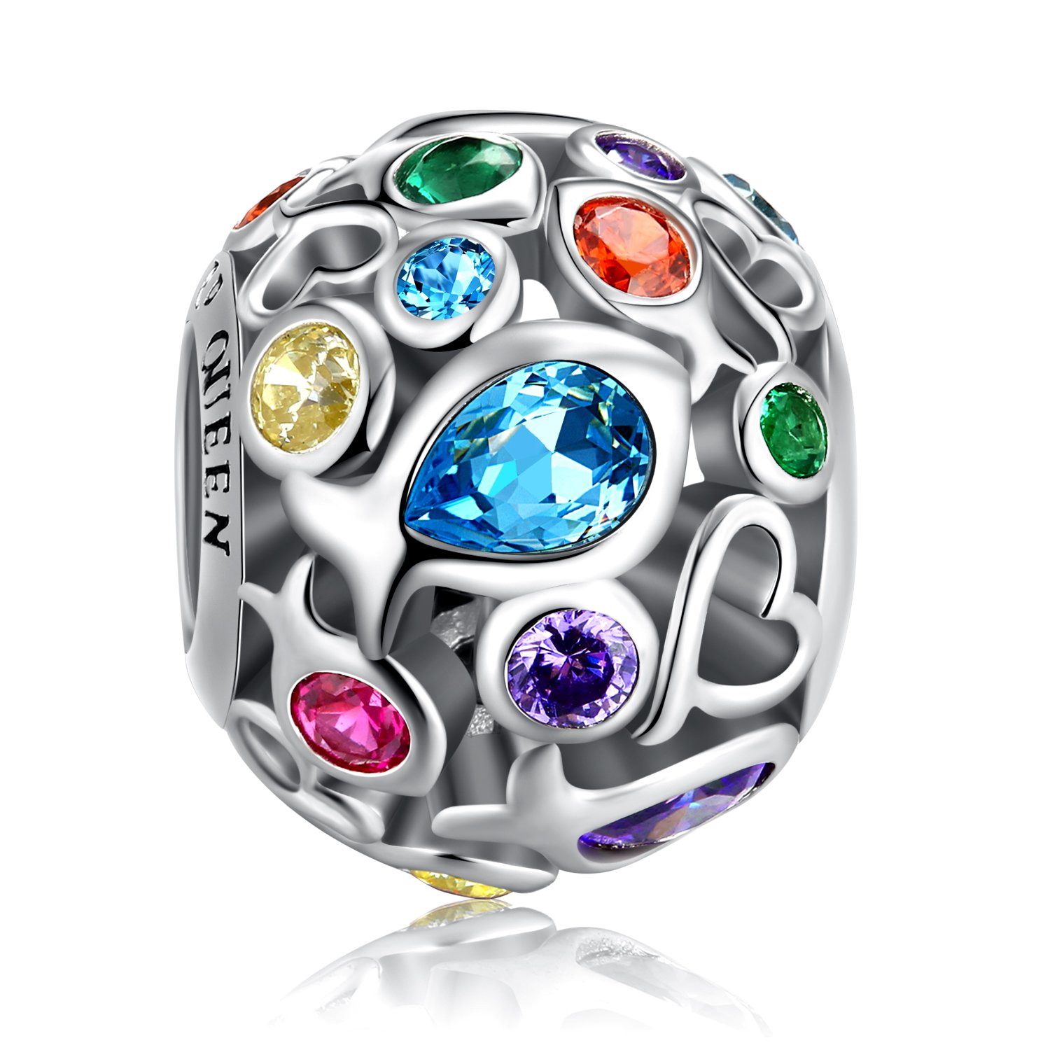 Rainbow Charm for Pandora Charms Bracelet, 925 Sterling Silver Openwork Beads Colorful Bead Charm with Skin-Friendly Fish Cubic Zircon Stone Perfect for Bracelet Necklace FQ0001 (Rainbow Charm) by FOREVER QUEEN