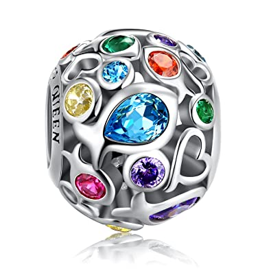 02b33af33 Rainbow Charm for Pandora Charm Bracelet, 925 Sterling Silver Openwork  Beads Colorful Bead Charm with