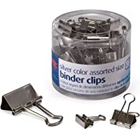 Officemate Silver Binder Clips, 30/Tub (Assorted Sizes)
