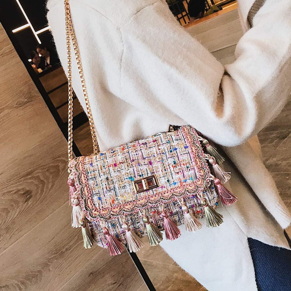 Pink HWG-GAOYZ Womens Bag One Shoulder Crossbody Chain Bag Weaving Tassel Woolen Small Square Bag Ethnic Style Wild Fashion