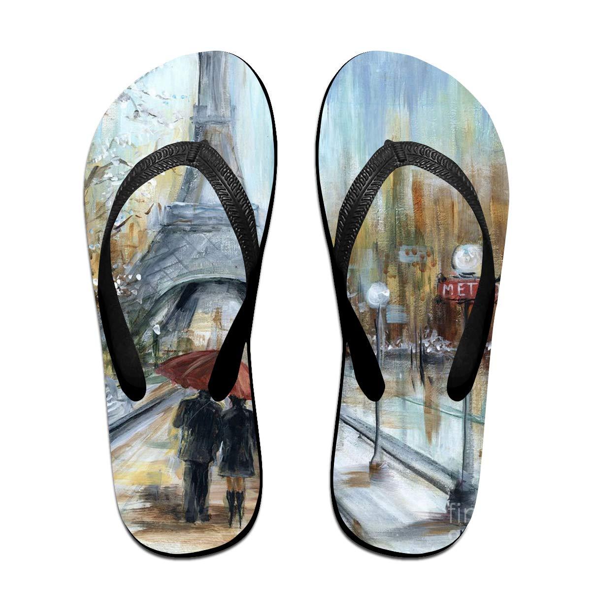 Ladninag Flip Flops Paris Lovers Womens Summer Slippers Brazil Sandals for Unisex