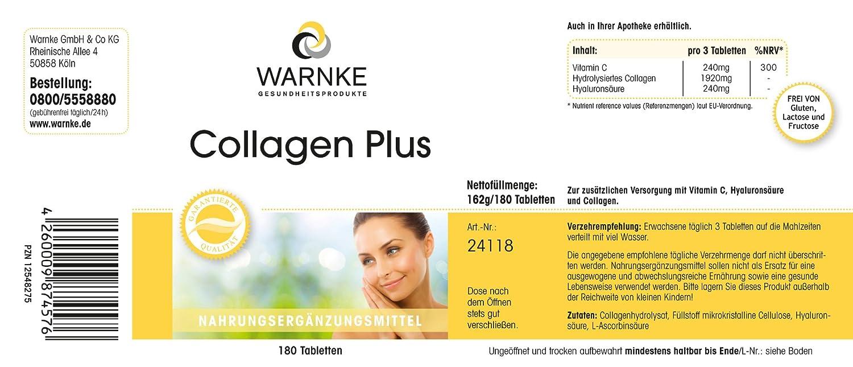 Colágeno Plus - Warnke Vitalstoffe - 180 cápsulas - con ácido hialurónico y vitamina C: Amazon.es: Salud y cuidado personal