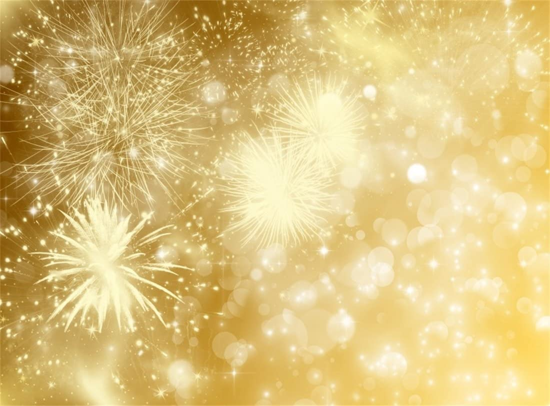 Leowefowa 12x8ft Sparkling Fireworks Gold Glitter Backdrop Vinyl Festival Celebration Photography Background Child Kids Adult Birthday Party Banner Studio Photo Booth Props