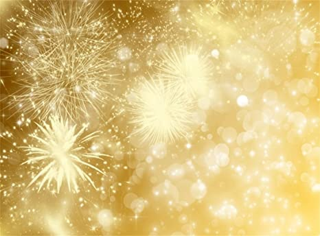 Leowefowa Vinyl 10X8FT Happy New Year Backdrop Fancy Fireworks Golden Bokeh  Sparkle Sequins Romantic Wallpaper Photography Background Kids Adults
