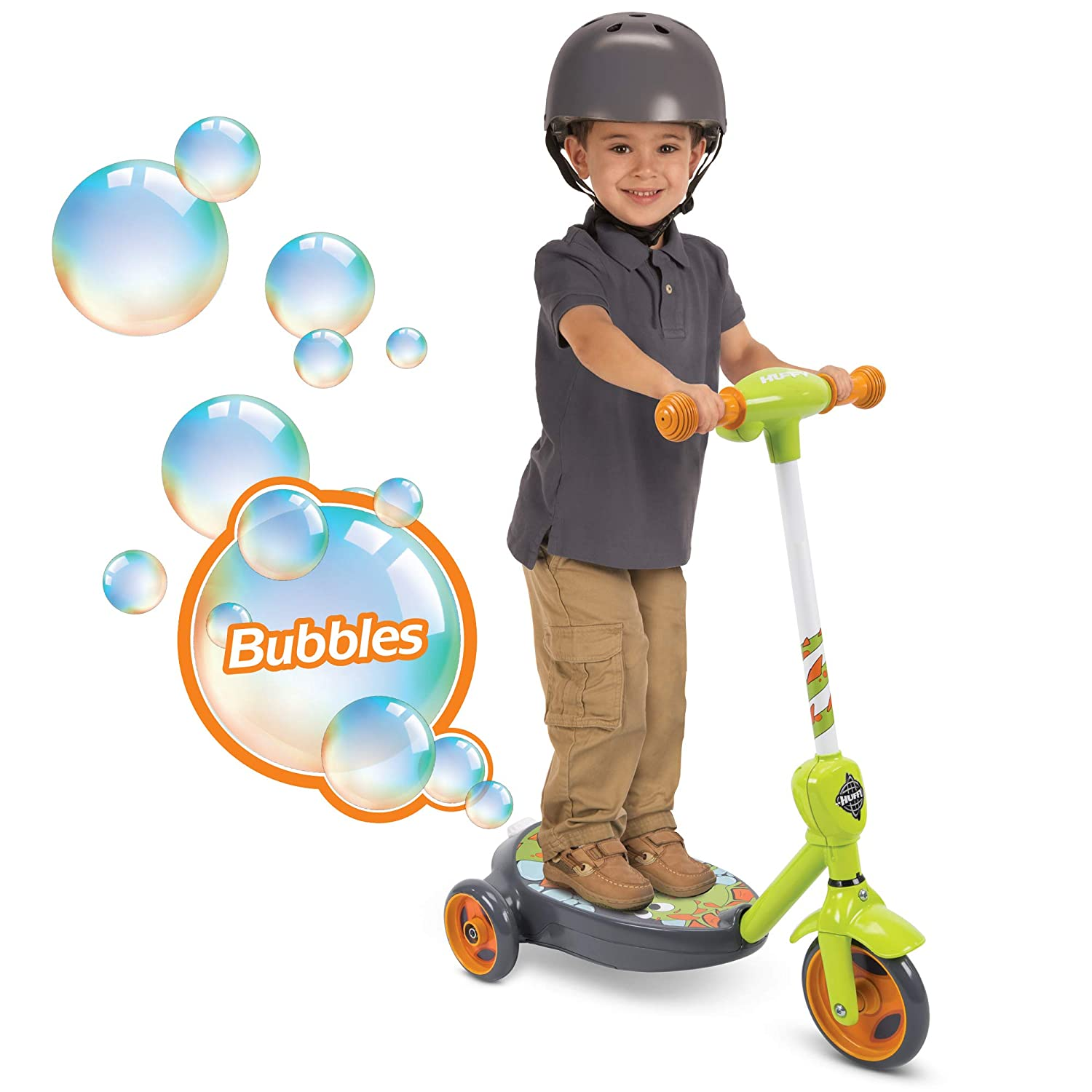 Huffy 18007P 6V 2 in 1 Bubble Scooter (Dragons) Toy, Green