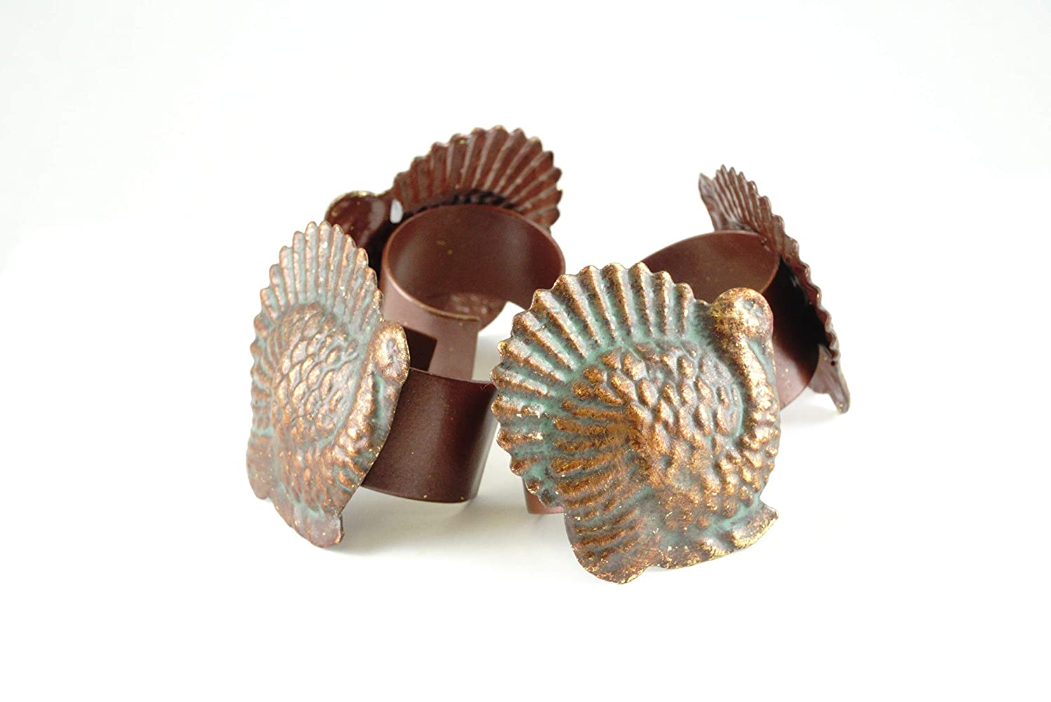 Party Explosions Thanksgiving Turkey Antique Style Metal Napkin Rings - Set of 4 Party Explosions®