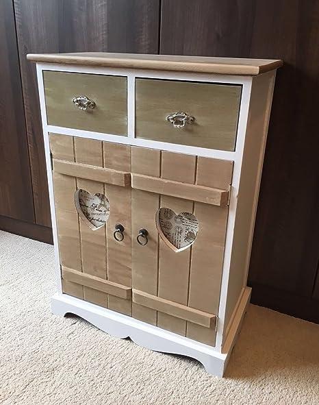 Shabby chic armadio rustico in legno bianco vintage Heart mobili ...