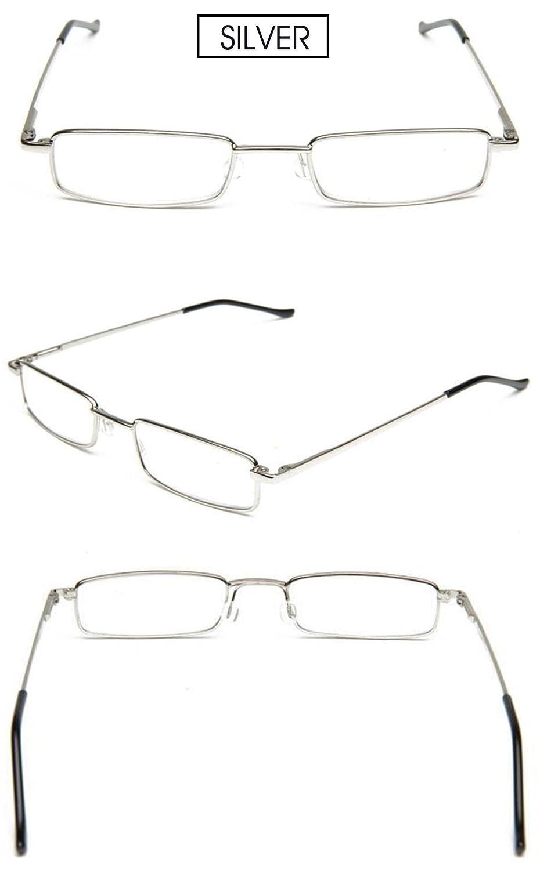 VEVESMUNDO Lesebrille Metall Klassische Scharnier Schmal Stil Brille ...