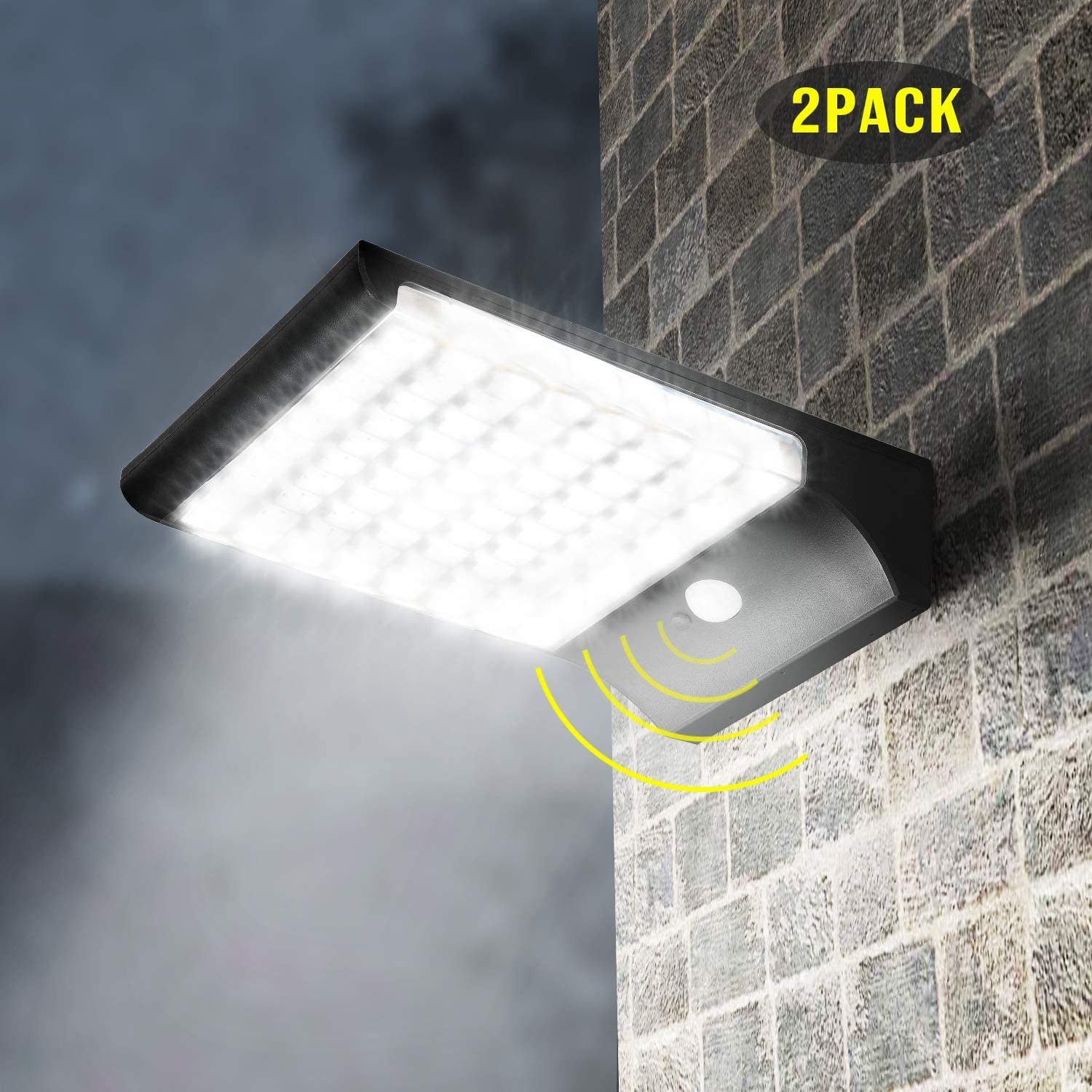 Solar Motion Lights Outdoor JACKYLED 94 LED Solar Lights 1500LM Super Bright Solar Powered Security Light with Larger Battery Capacity for Patio Garden Gutter Porch Garage Pathway Barn 2-Pack Black