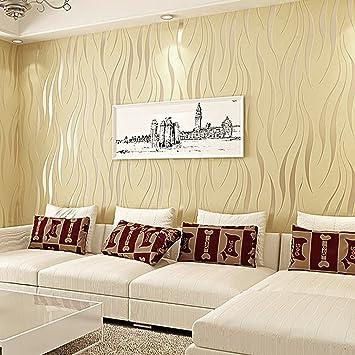 KINLO® Tapete Vlies 3d 10x0.53m Tapete Beige barock tapete Wand für ...
