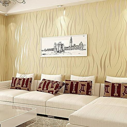 Kinlo® Tapete Vlies 3D 10X0.53M Tapete Beige Barock Tapete Wand