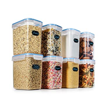 Food Storage Containers Airtight Containers - Estmoon Cereal & Dry Plastic Containers for Cereal Flour Rice Snacks Sugar, Leak Proof with Locking Lids - Set of 8 (54.66 oz / 1.6L)