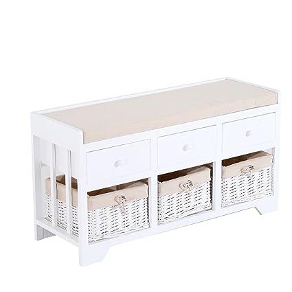 Fine Homcom 3 Drawer 3 Basket Padded Storage Bench White Beige Pdpeps Interior Chair Design Pdpepsorg