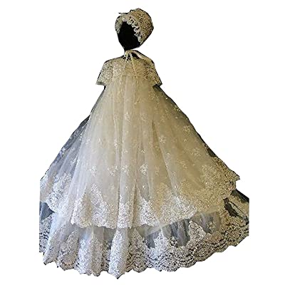 Dannifore Unisex Baby 2 Layers Short Sleeve Long Lace Applique Christening Gowns With Bonnet
