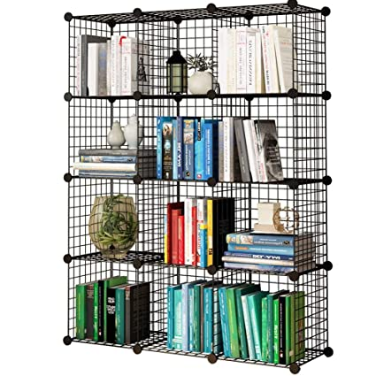 KOUSI Storage Cubes Wire Grid Modular Metal Cubbies Organizer Bookcases And  Book Shelves Origami Shelving Unit