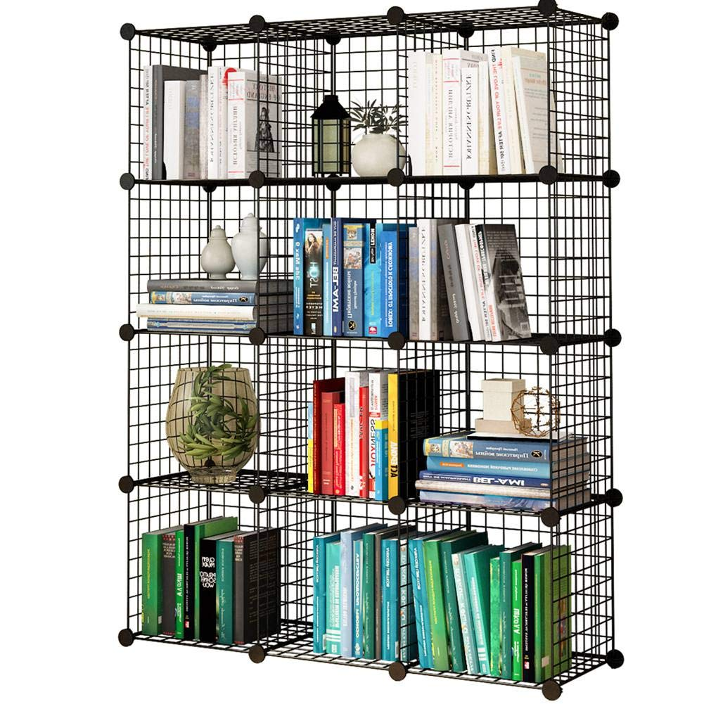 KOUSI Storage Cubes Wire Grid Modular Metal Cubbies Organizer Bookcases and Book Shelves Origami Shelving Unit, Black, 12 Cubes