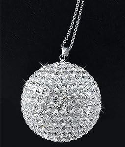Bling Crystal Ball Car Rear View Mirror Hanging Accessories, Crystal Rhinestone Car & Home Decor Hanging Ornament, Car Interior Glam Decoration Charm (Silver)