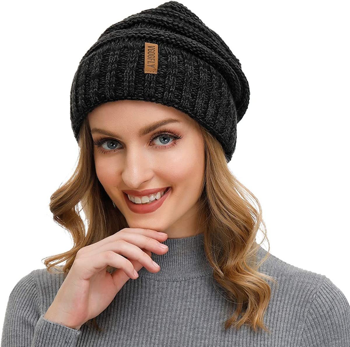 Winter Warm Cable Knitted Beanie Hats Baggy Slouchy Skull Ski Cap