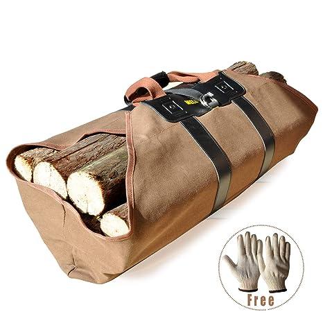 Amazon.com: Firewood - Bolsa de lona con guantes de madera ...