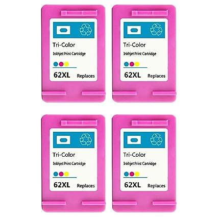 QINK 4 unidades para HP 62 X L color Cartucho de tinta, C2p07ae ...
