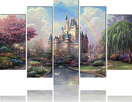 Amazon.com: Pictures for Girls Room 5 Panel Canvas Wall Art ...