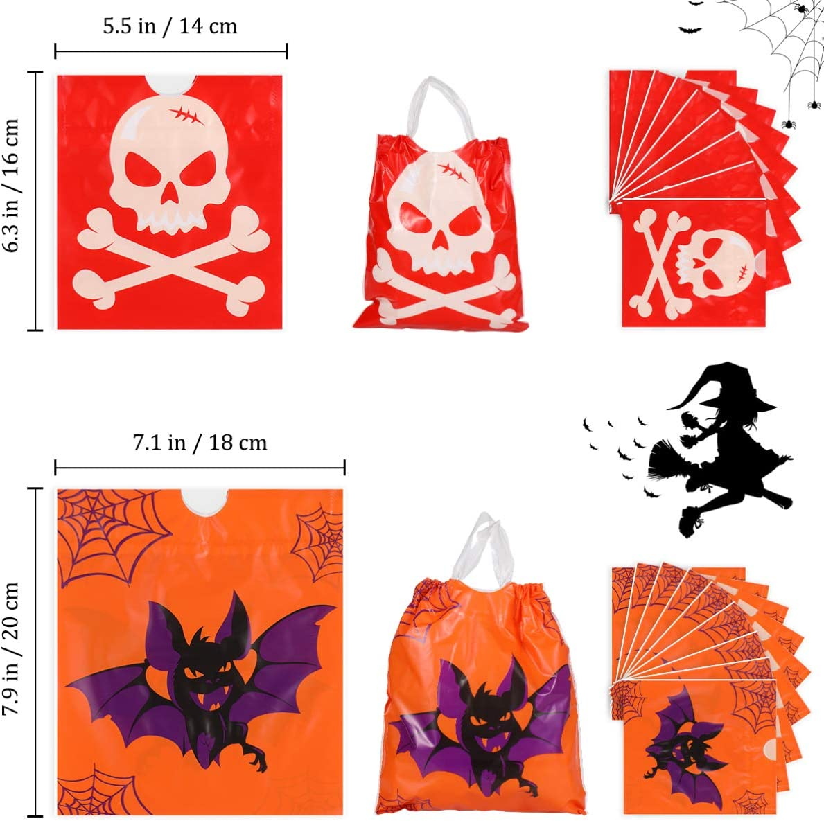 Halloween Drawstring Bags 8 Patterns Gift Bags Treat Bags Candy Sacks for Banquet Halloween Holiday 72pcs