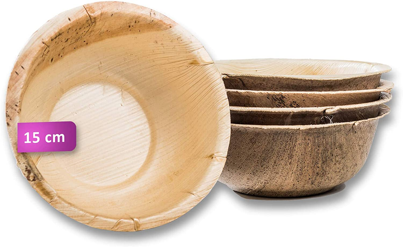Premium Einweggeschirr kompostierbar Palmblatt Suppenschale Einweg Suppenteller 200 gro/ße Schalen /Ø 15 cm // 500 ml Waipur Bio Palmblattschalen