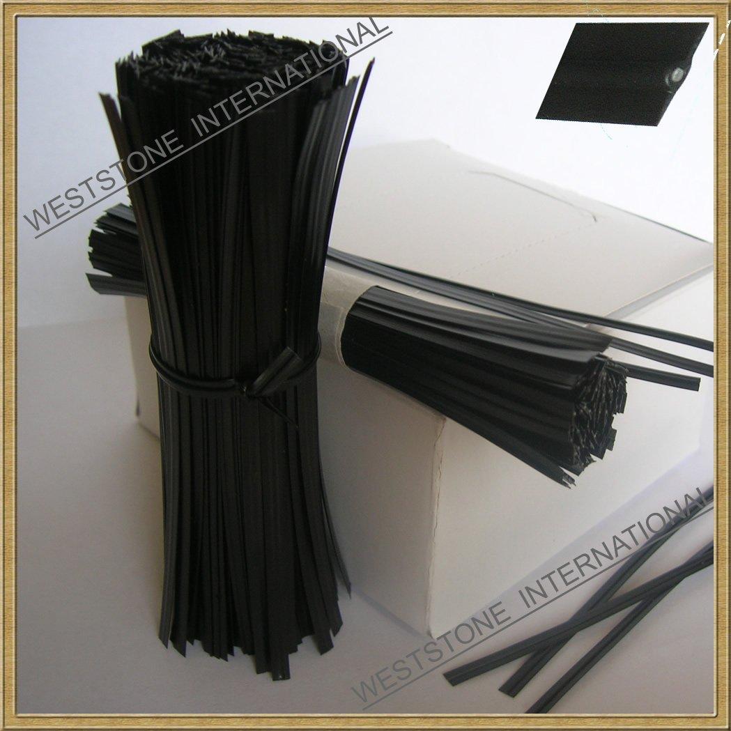 1000pcs 5''(12.7cm) Plastic Black Twist Ties