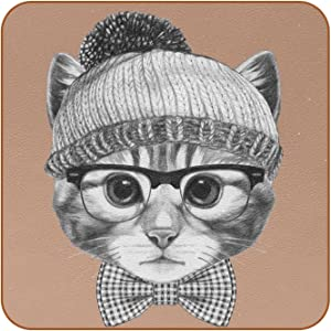 Coasters for Drinks Cat Head Hat Glasses Bow Tie Leather Square Mug Cup Pad Mat for Protect Furniture, Heat Resistant, Kitchen Bar Decor, Set of 6