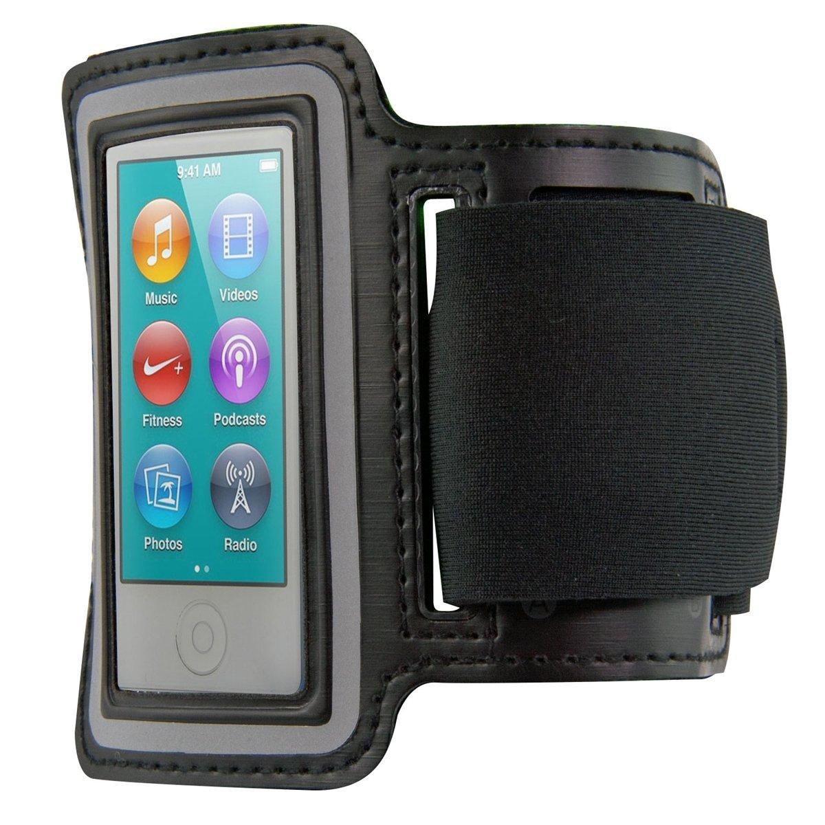 kwmobile Bracelet de sport pour Apple iPod Nano 7 - jogging footing sac de sport bracelet de fitness avec compartiment pour clés dans le bracelet de sport en noir