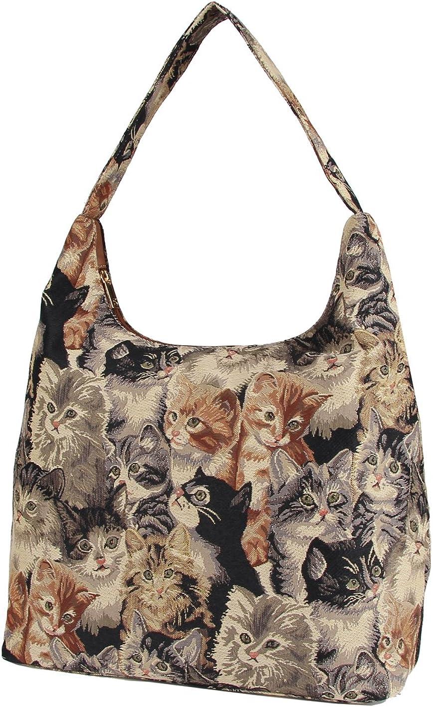 Signare Cat Print Ladies Tan Fashion Canvas Tapestry Top Zip Hobo Shoulder Bag Beach Bag HOBO -CAT