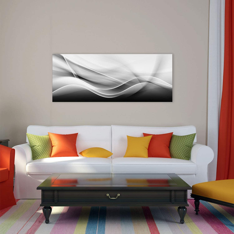 decorwelt Glasbild 125x50 XL Abstrakt Grau Panorama Wandbild Glasbilder Modern Deko Glas