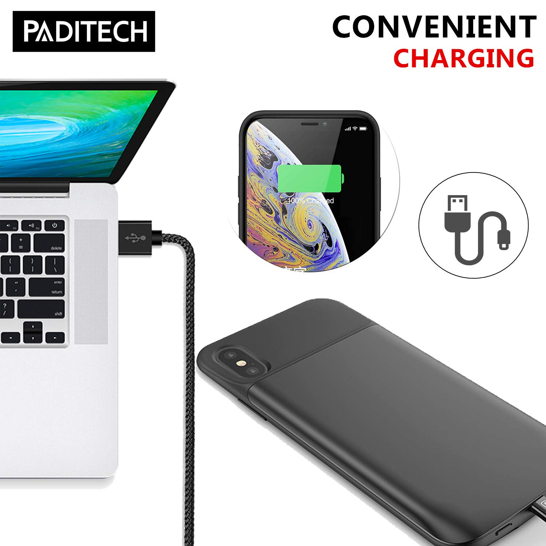 PADITECH Coque Batterie pour iPhone X/XS, 6000mAh Chargeur Portable Batterie Externe Rechargeable Puissante Power Bank Coque Batterie pour iPhone X/XS [5.8 Pouces]