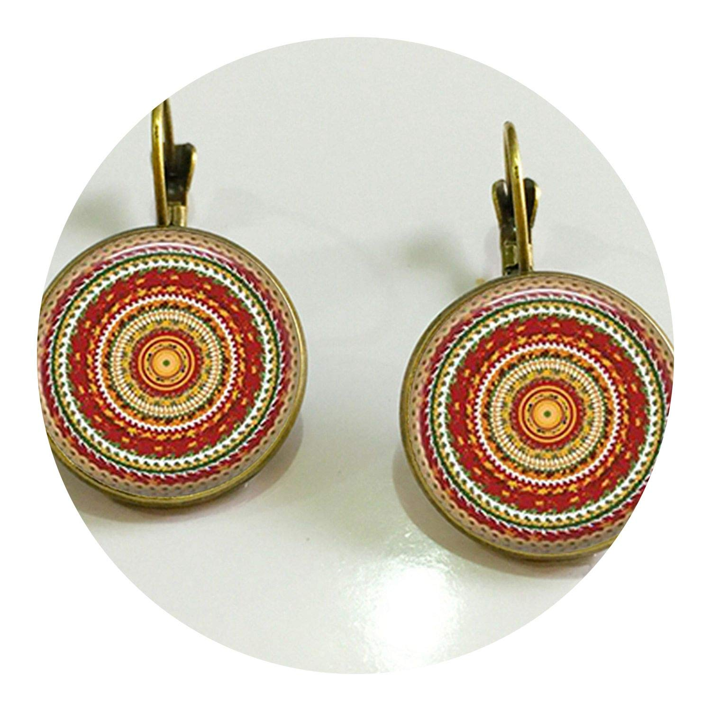 mandala om Zen Buddhist symbol earring crful henna yoga statement jewelry earings for women