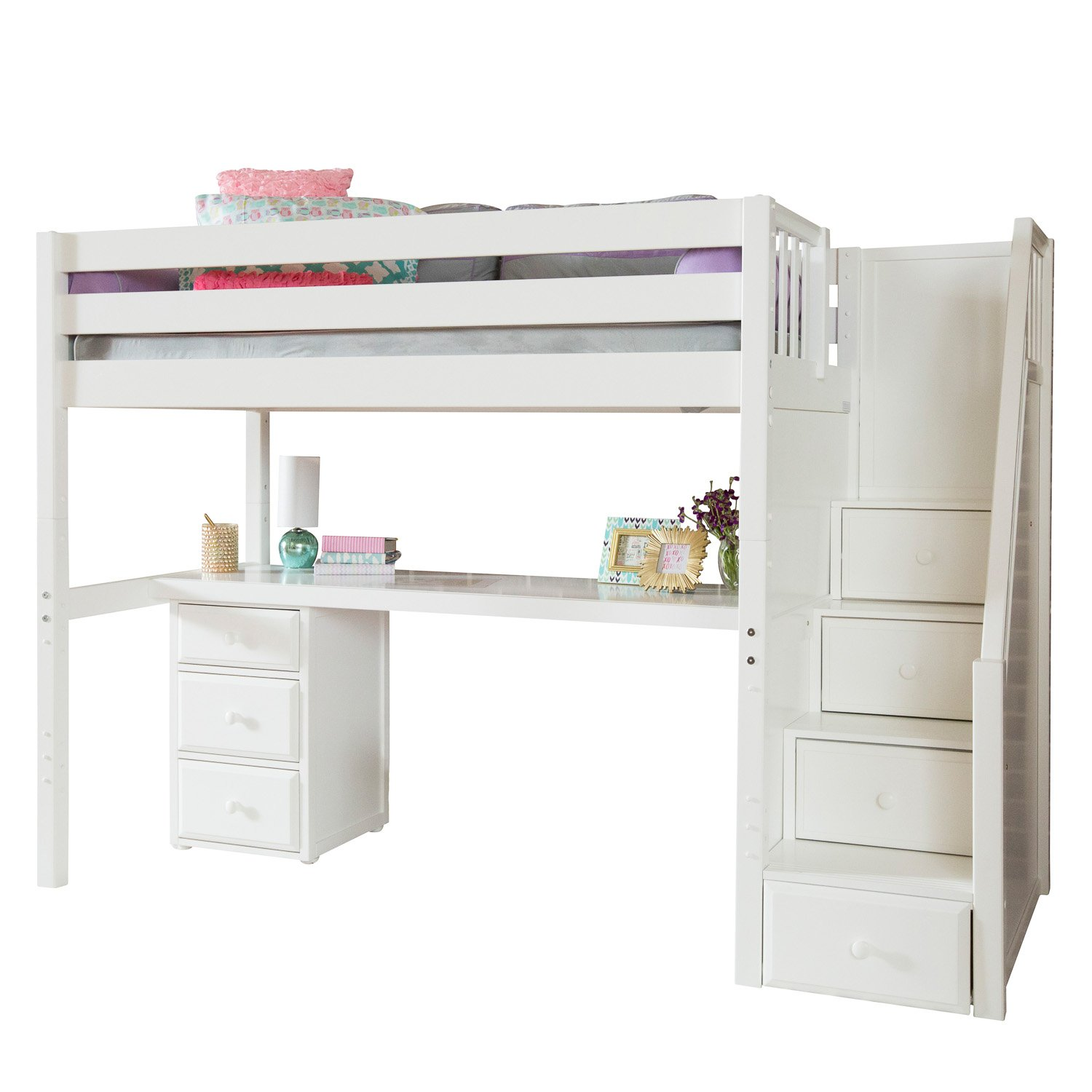 Maxtrix Solid Hardwood Twin-Size Low Loft Bed with Storage Staircase Entry, Integrated Desk, and 3 1/2 Drawer Dresser, White
