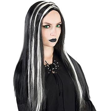 narrenwelt Peluca Bruja Halloween Negro/Plata Universal Tamaño