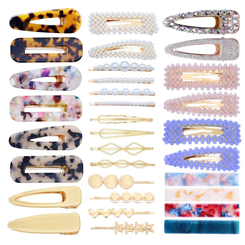 32 Pcs Pearl Hair Clip Pearl Hair Pins Acrylic Resin Hair Barrettes Geometric Bobby Hair Pins Metal Gold Hairpin Hair Styling Jewelry Hair Clamps Hair Accessories Women by fani