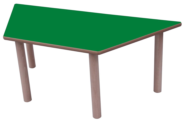 Mobeduc Mesa Infantil Trapecio 120x60 cm (Talla 2), Haya, Haya y Verde Oscuro, 120 x 60 cm