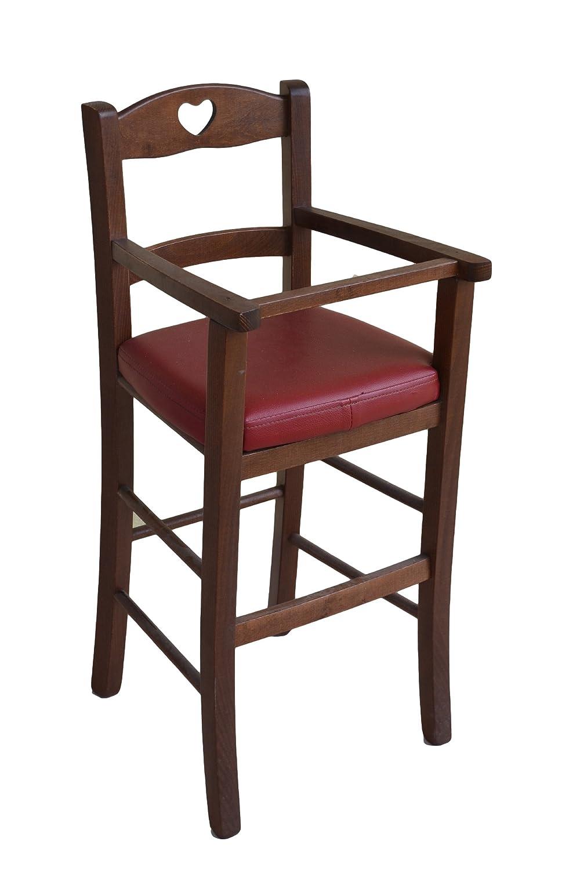 Sediolone Sgabello Sedia Seggiolone bimbo lusso in legno Noce scuro con seduta ecopelle imbottita già montato OKAFFAREFATTO MADDALONI