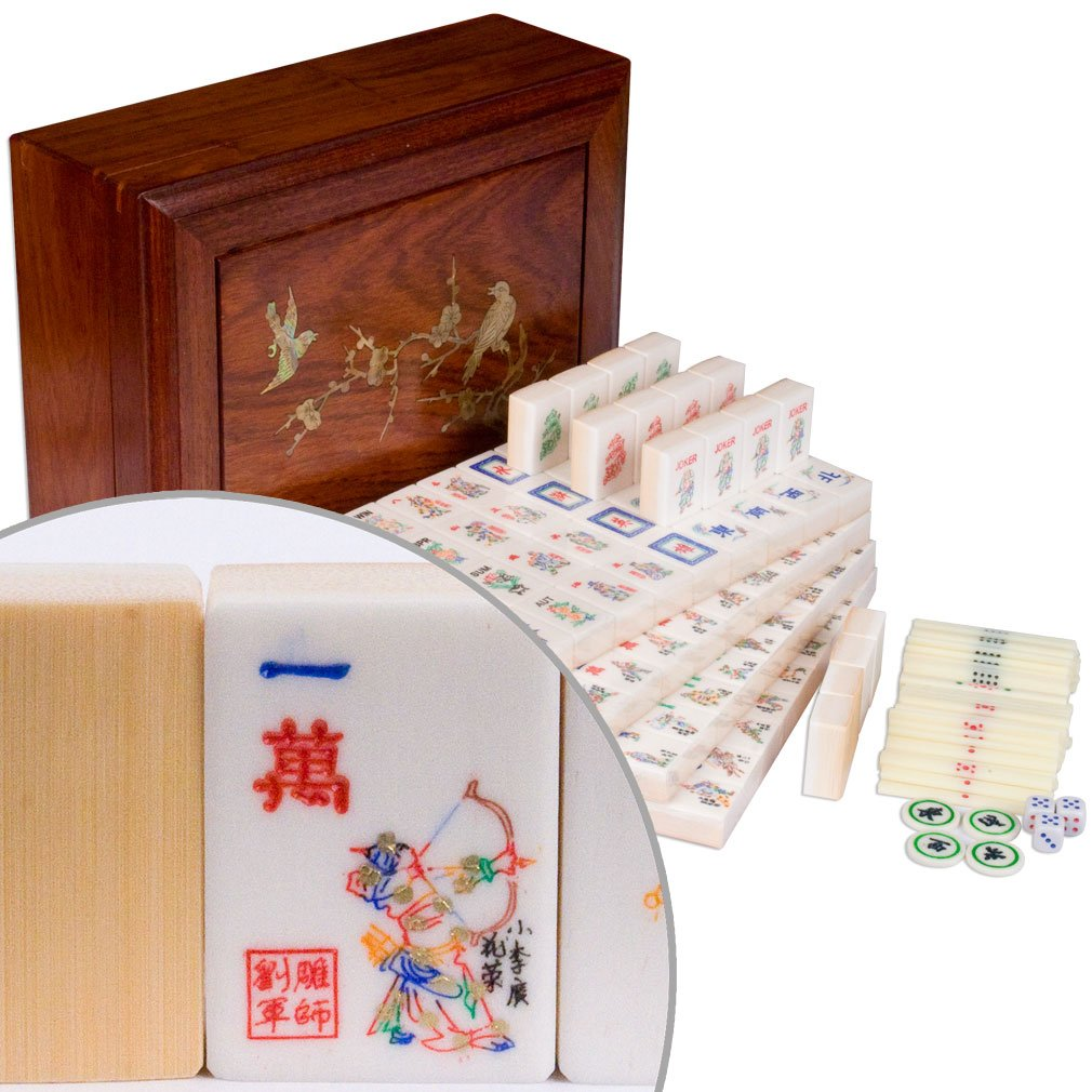 Yellow Mountain Imports Traditional American Mahjong (Mah Jong, Mahjongg, Mah-Jongg, Mah Jongg, Majiang) Set with 166 Bone & Bamboo Tiles in Rosewood Box, ''The Water Margin''