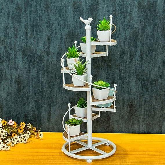 ZHEN GUO Escalera de Caracol de Metal Shapped Flower Racks Macetas de pie Estantería de Interior, Almacenamiento Decorativo Estantes de Madera 8 Tier (Color : Blanco, Tamaño : Pequeño): Amazon.es: Hogar