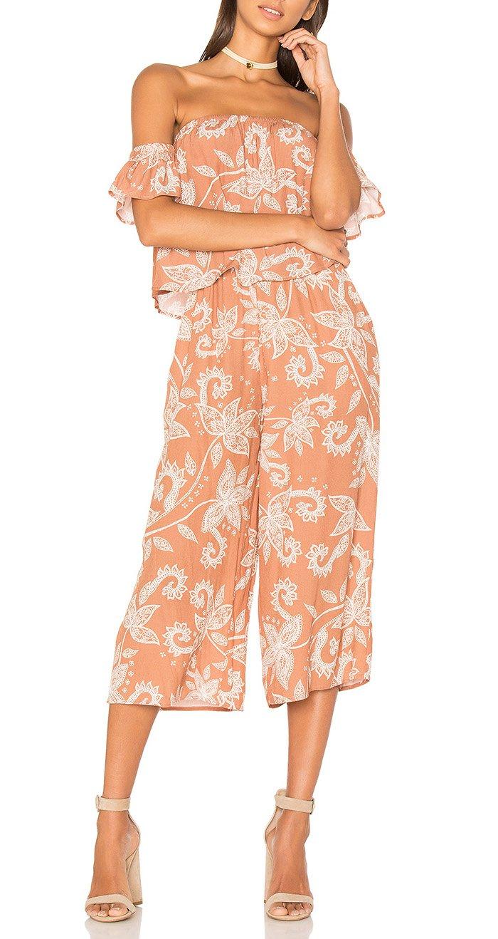 Mink Pink Nusa Dua Off Shoulder Jumpsuit (L, Multi)