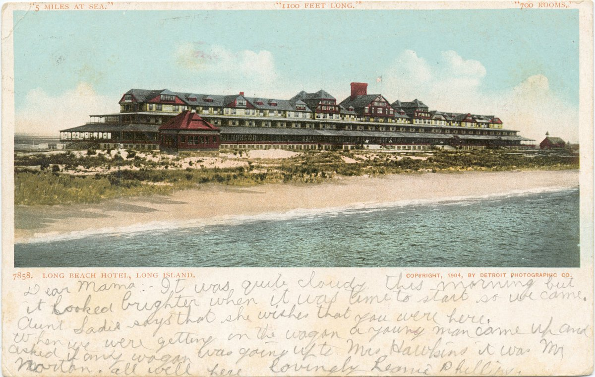 Historic Pictoric Postcard Print - Long Beach Hotel (Long Island), Long Beach, N. Y, 1903 - Vintage Fine Art by Historic Pictoric