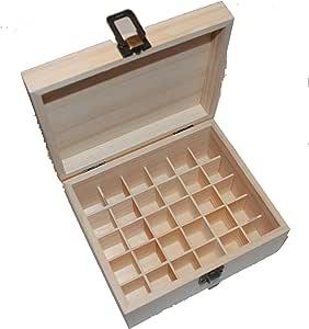 Calmer Solutions - Caja de madera para aceites esenciales (30 compartimentos): Amazon.es: Hogar