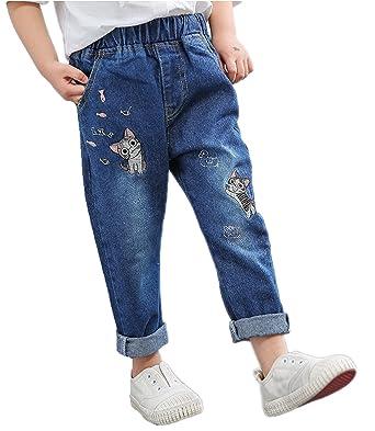 6b17f5aaec60f RIKOUZY(リコウゼワイ)子供用パンツ デニム ロングパンツ 刺繍猫柄 かわいい ジーンズ 女の子