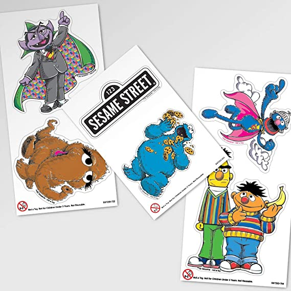 5 x Square Stickers ~ Halloween Sesame Street Cookie Big Bird Elmo Bert Ernie ~
