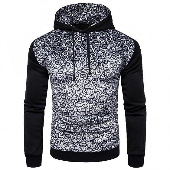 NEW patchwork Hoodies Mens Hombre Male Hoodie Fashion leopard Print Sweatshirt black S